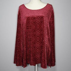 Cato Starlight Red Chenille Long Sleeve Top